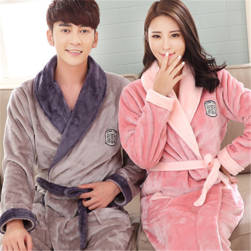 a4f8ed92fa Flannel Couples Bathrobes Women s Robes Winter Dressing Gowns For Women  Male Female sleepwear Kimono Robe Casual Home Clothes-in Robes from Women s  Clothing ...