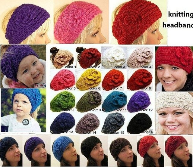 Handmade knitting headbands/47cm length / headdress with knitting Flower /can mixed color   +EMS/DHL Free Shipping
