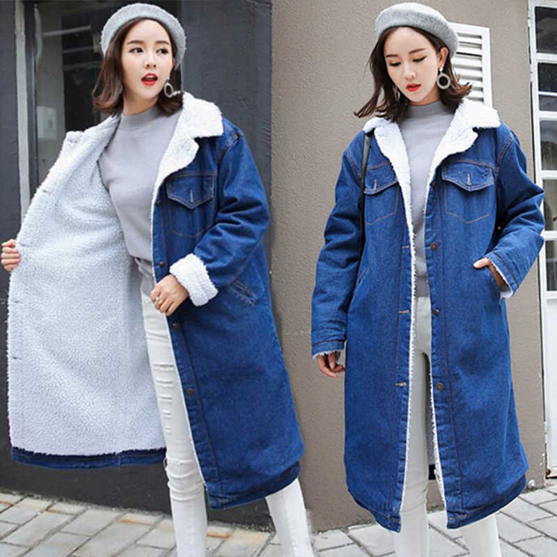 Spring Autumn Winter New 2019 Women lambswool jean Coat With 4 Pockets Long Sleeves Warm Jeans Coat Outwear Wide Denim Jacket