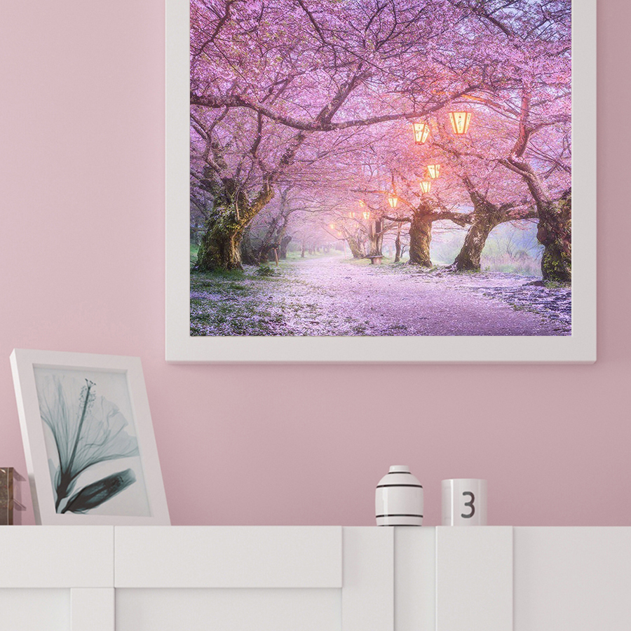 Oly diamond painting Cherry blossoms full drill round 5D 3d cross stitch kit mosaic round rhinestone home decoration in Diamond Painting Cross Stitch from Home Garden