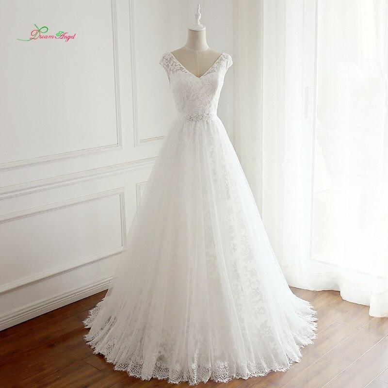 Dream Angel Vestido De Noiva Sexy Backless V Neck Lace Wedding Dress 2018  Cap Sleeve Sashes b21c6ea383b4
