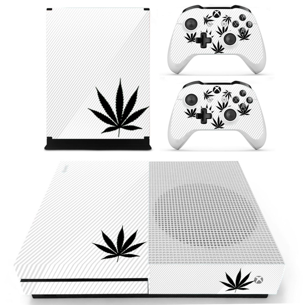 Green Leaf Weed Skin Sticker Decal For Xbox One S Console and Controllers for Xbox One Slim Skin Stickers Vinyl