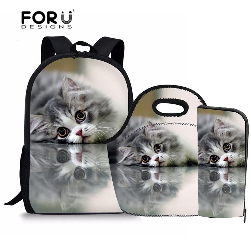 FORUDESIGNS School Bags for Girls Kawaii Cat Printing Children Backpacks Schoolbag Kids Teenager School Satchel Mochila Escolar