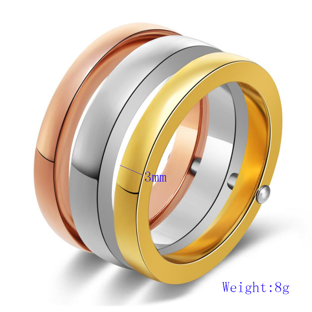 NIBA High Quality 3 Pieces/Set Rose Gold/Silver Color Titanium Steel Rings For Women Jewelry Anniversary Ring Set 3