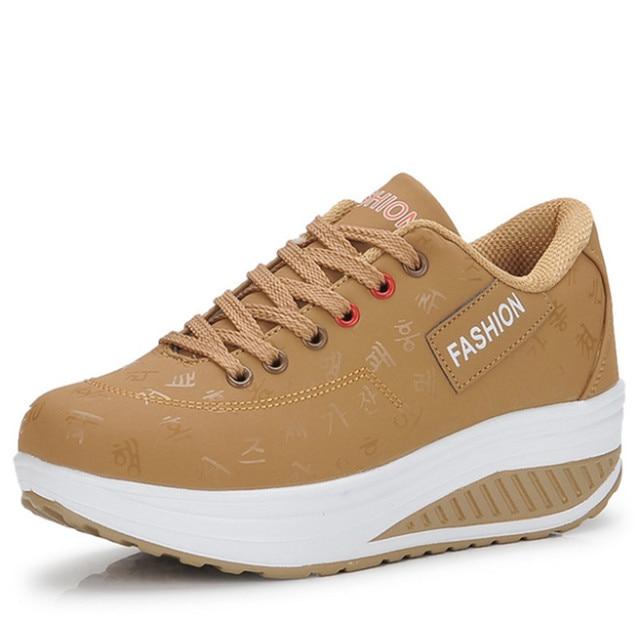Новая весенне-Осенняя обувь с округлой подошвой; женская дышащая обувь с ремешком; кроссовки с толстой подошвой, увеличивающие рост; женска...