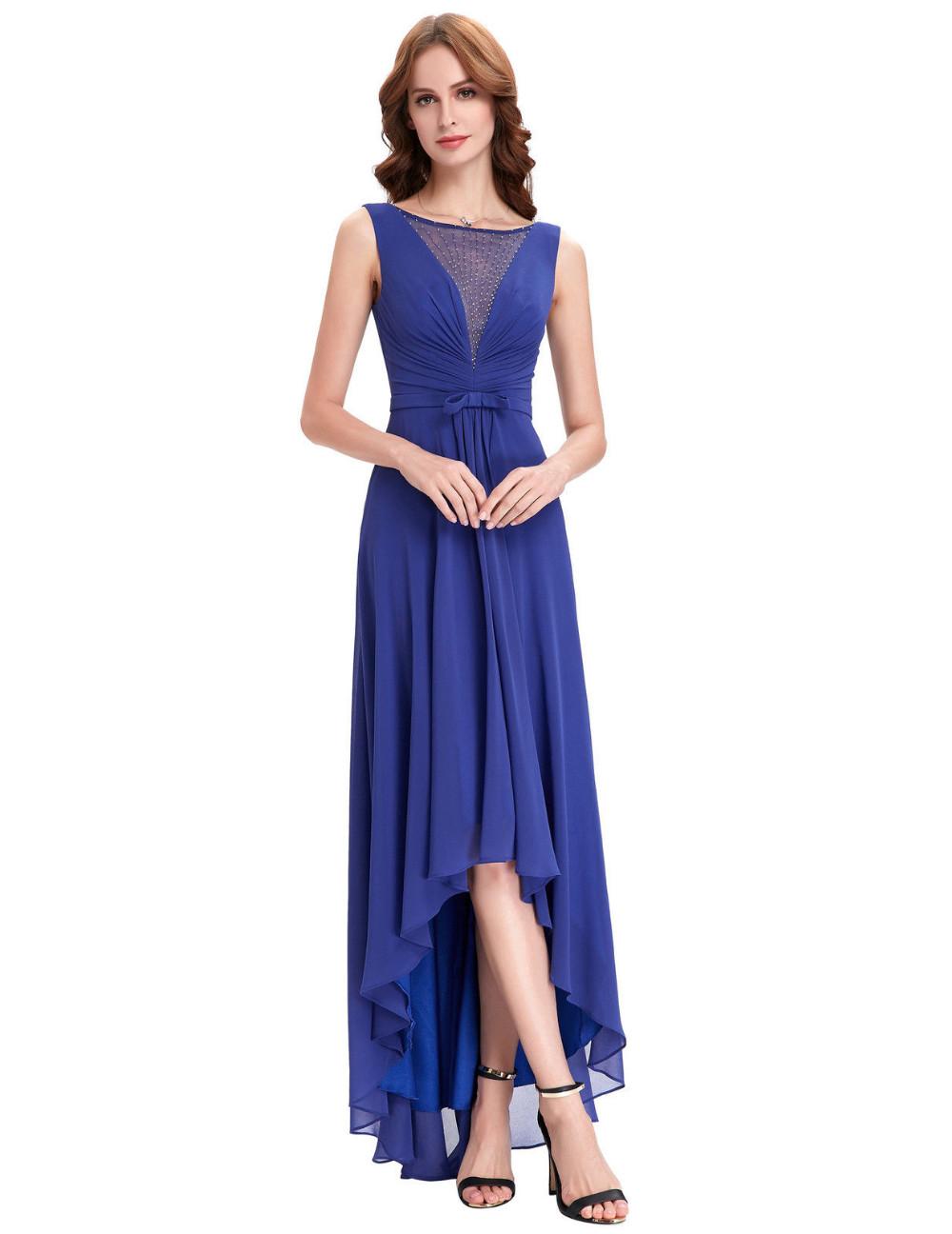 High Low Royal Blue Chiffon Short Front Long Back Bridesmaid Dress 3