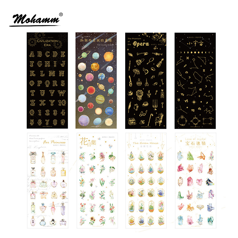 Cute Creative Planet Flower Gold Foil DIY PVC Transparent Decorative Stationery Stickers Scrapbooking Photo Album Kid Child Toy elephant lion bear animals transparent clear stamps silicone seals stencils for scrapbooking folder cards diy photo album sheets