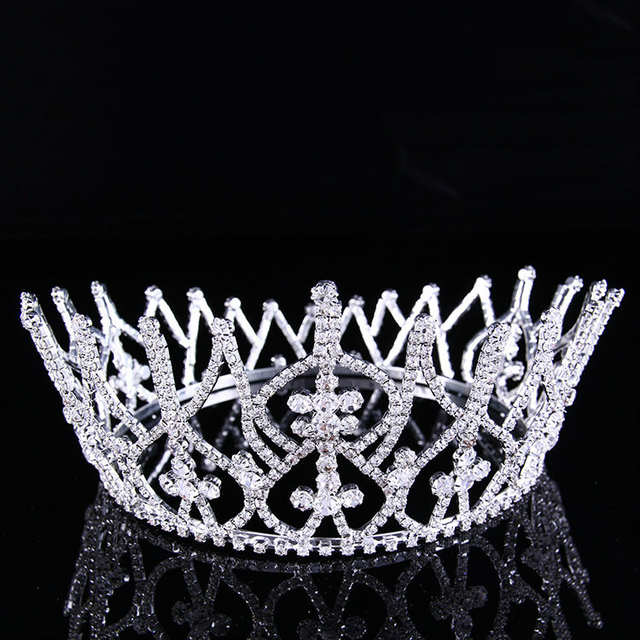 79b81166ceb US $34.11 5% OFF Venus Jewelry Women's 4 Tall Beauty Pageant Queen Royal  Full Crown Silver Plated Clear Crystals-in Hair Jewelry from Jewelry & ...