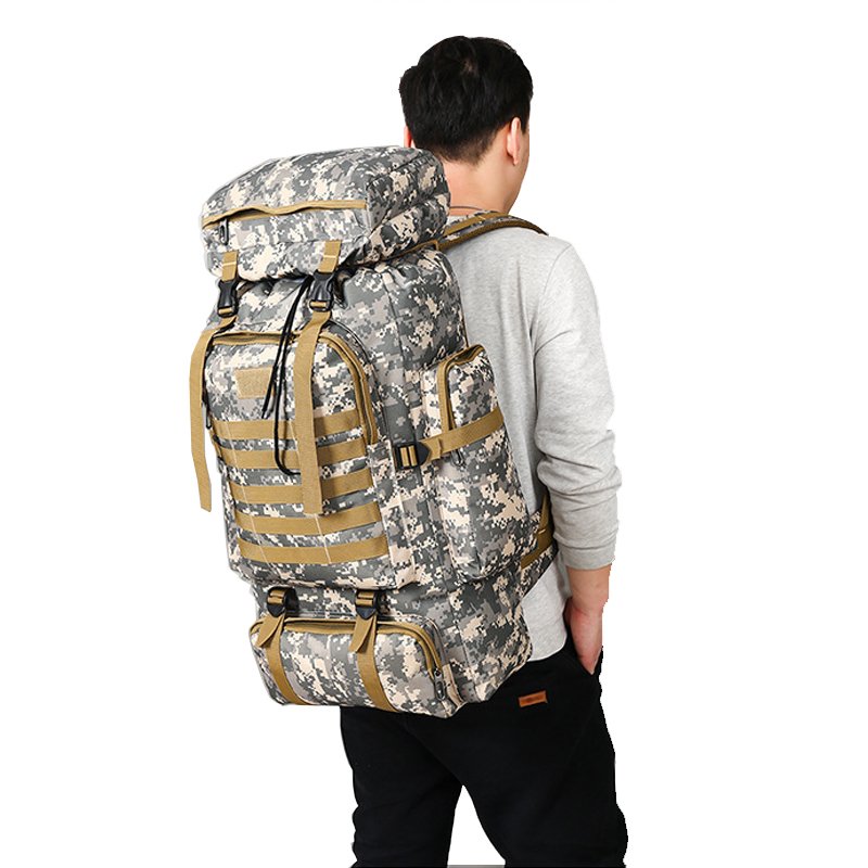 98c1bc2933 80L Waterproof Molle Camo Tactical Backpack Military Army Hiking Camping  Backpack Travel Rucksack Outdoor Sports Climbing