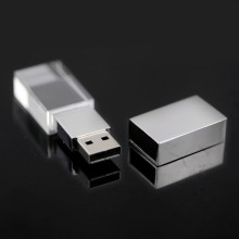 gadgets Hot 3D Logo Transparent Glass Crystal customized USB Flash Drive 2.0 2G 4G 8GB USB Gift