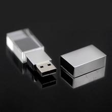 gadgets Hot 3D Logo Transparent Glass Crystal customized USB Flash Drive 2.0 2G 4G 8GB USB Gift