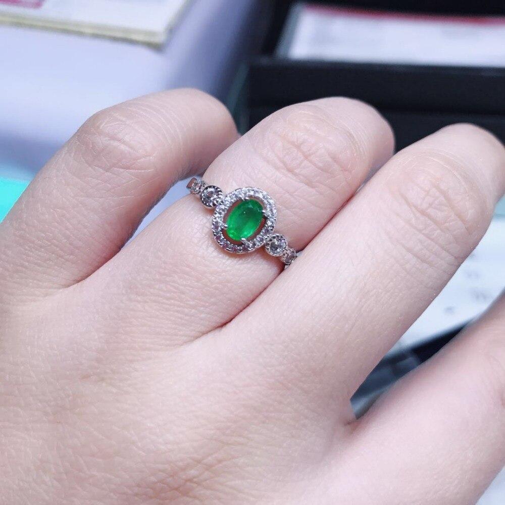 Bague émeraude naturelle 4mm * 6mm, argent sterling 925, bijoux colorés haut de gamme pour femmes