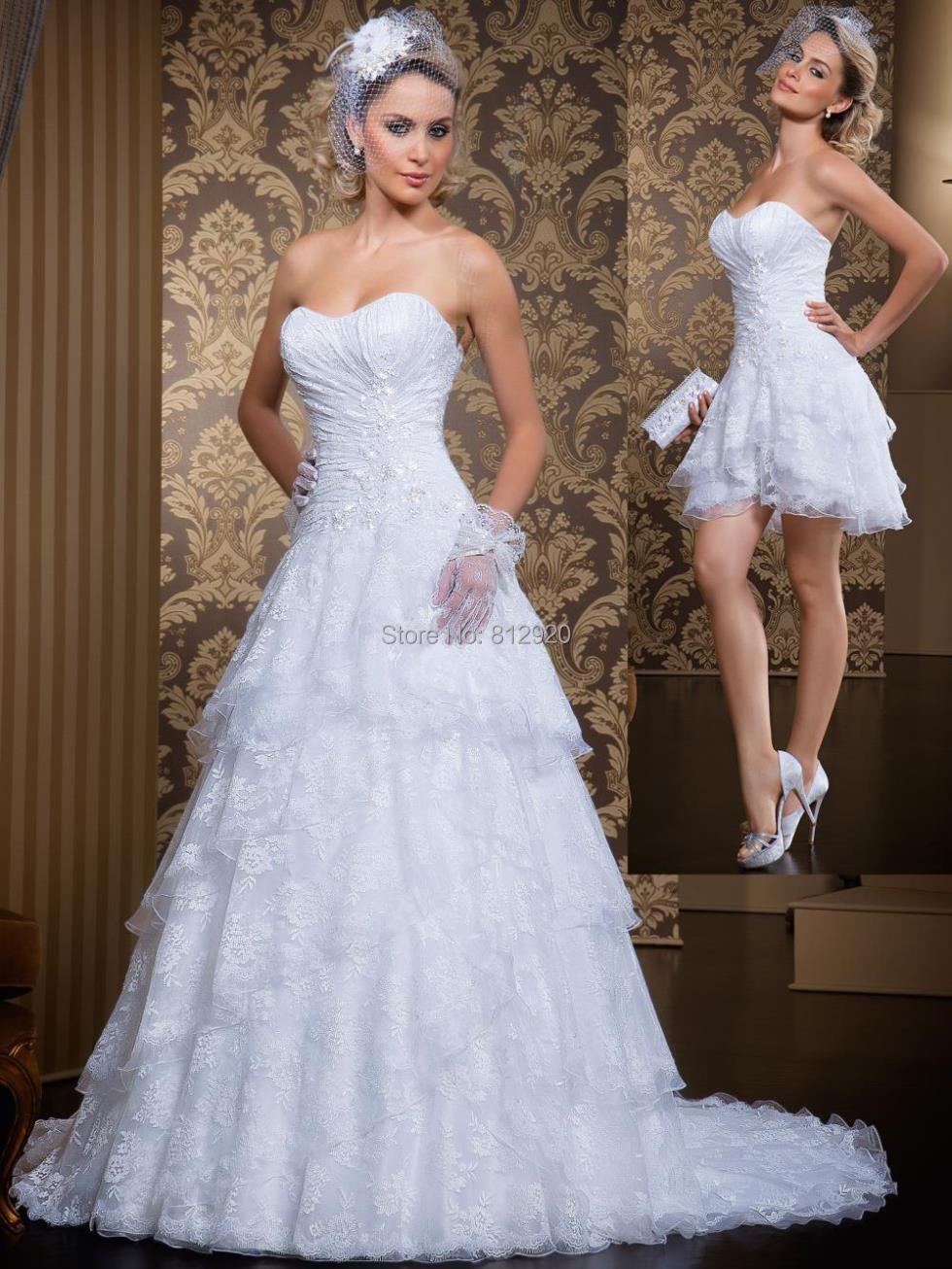 A-line Rendas Vestido De Noiva Tomara Que Caia 2 Em 1 Lace Dress Bride Wedding Dress With Removable Skirt