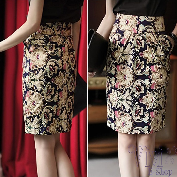 Online Shop Vintage High Waist Pencil Skirt Women Floral Printed ...