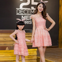 2016 New Summer Classic Organza Lace Dress Parent Child Outfit Wholesale Mother And Daughter Dress