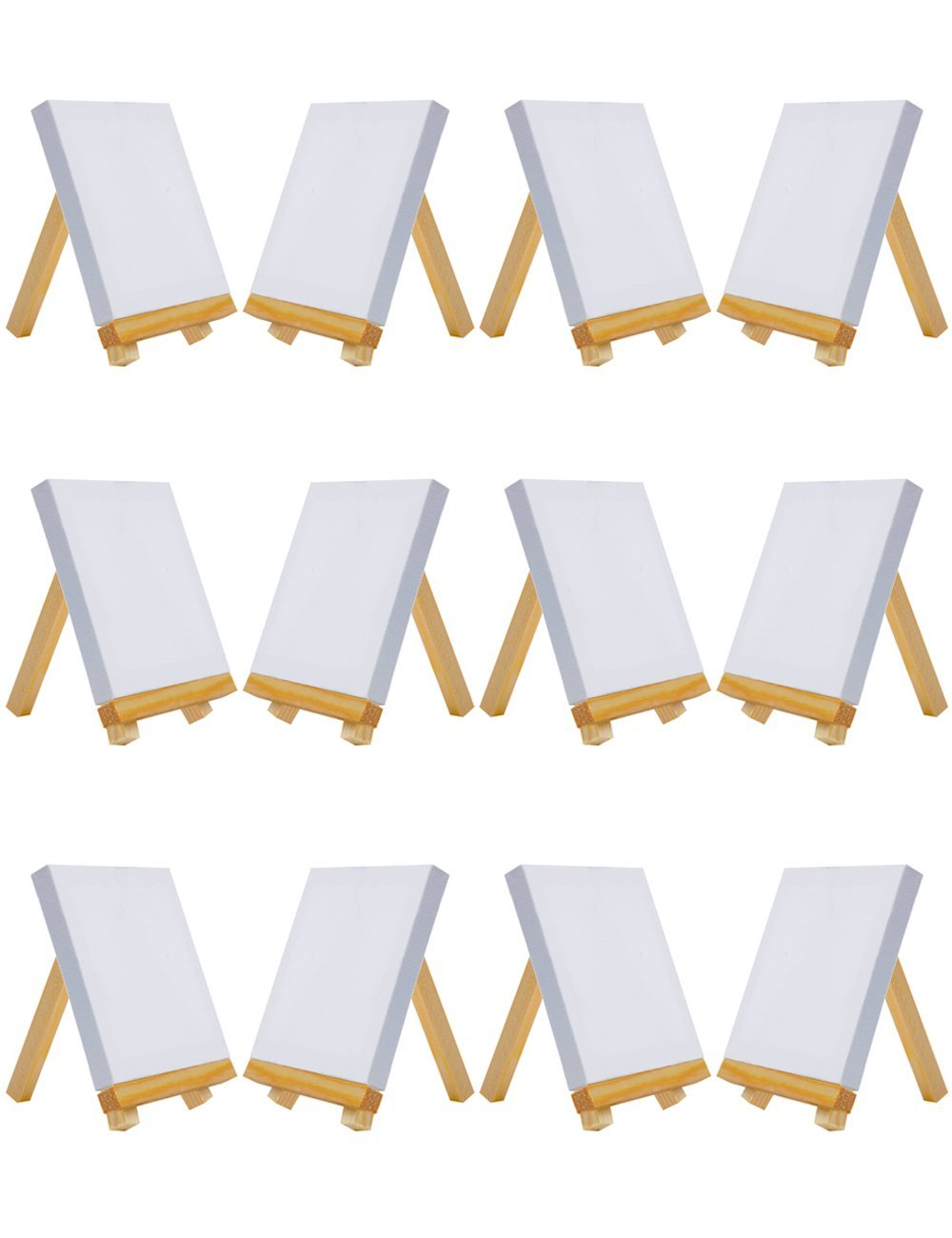 MEEDEN 12 PCS Mini Canvas & Easel Set Tiny Wood Easel For Painting Craft Drawing Decoration Supplies