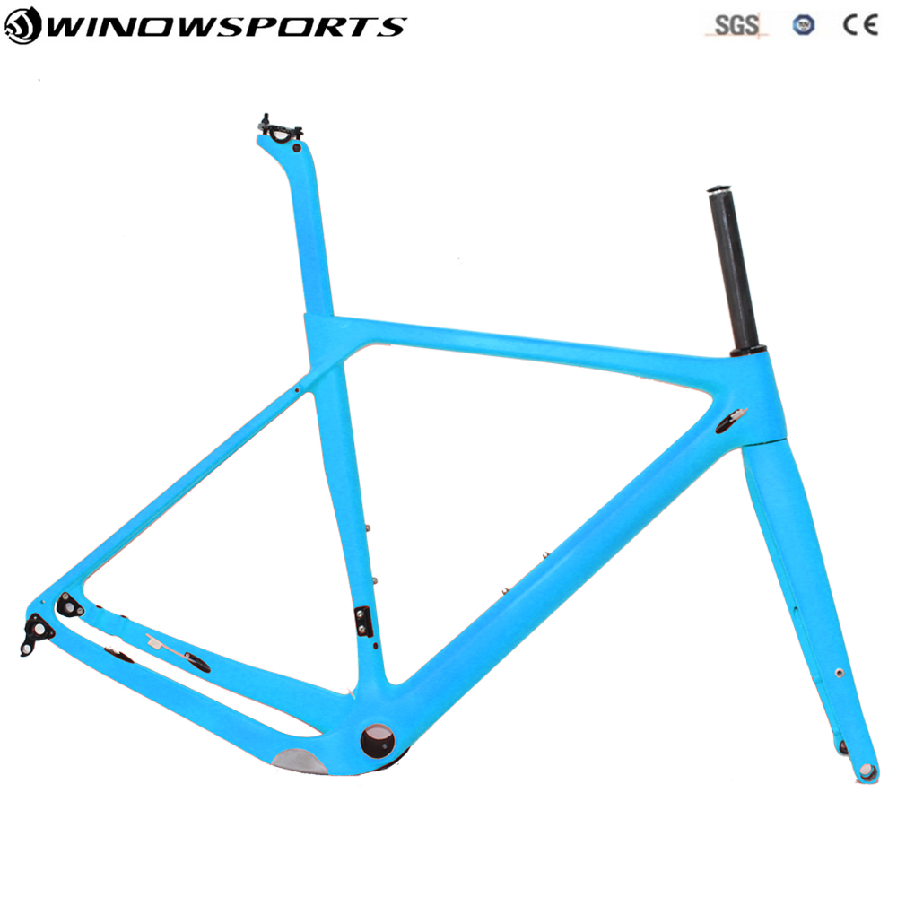 2018 New Design Gravel Frame Carbon Gravel Bike Frame, Gravel Carbon Bicycle Frame Cyclocross Disc Frame With Thru Axle/QR цена
