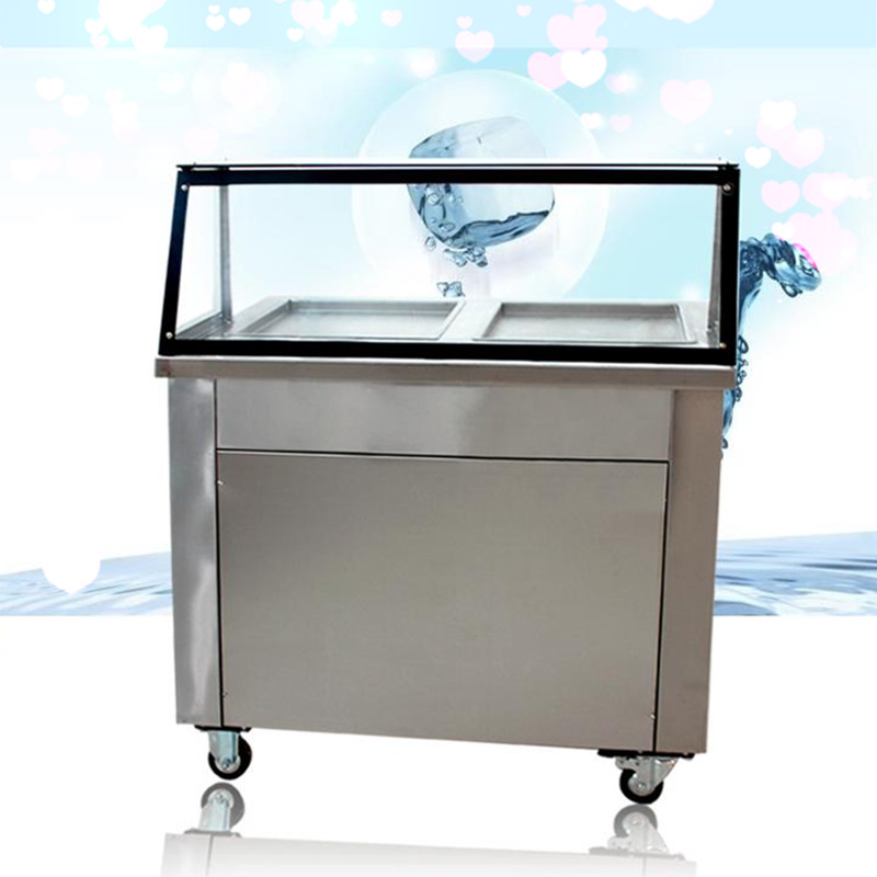 Double pan double brand compressor Fried ice machine,fry ice roll pan machine,Intelligent control fried ice cream roll machine single pan double compressor fried ice cream machine stainless steel fried ice cream roll machine intelligent fried ice machine