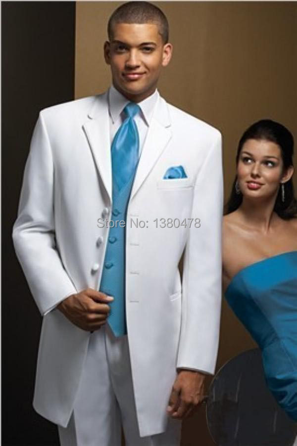 Custom Design White Men\'s Suits Wedding Tuxedos Prom Clothing Groom ...