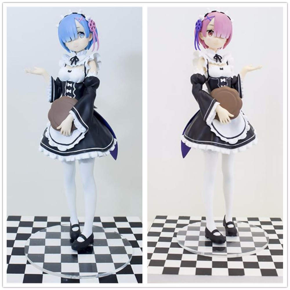 [PCMOS] 2017 Anime Re:Zero kara Hajimeru Isekai Seikatsu Ram & Rem Sega Prize 17cm/7 PVC Figure Toy Set New In Box 9025 9026 anime re zero kara hajimeru isekai seikatsu rem white pu short zero wallet coin purse with interior zipper pocket
