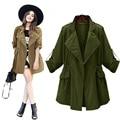 XL-4XL European Streetwear Women Camel  Army Green Wind Breaker Jackets Casual Long Sleeve Collect Waist Coat Cardigans XXXXL
