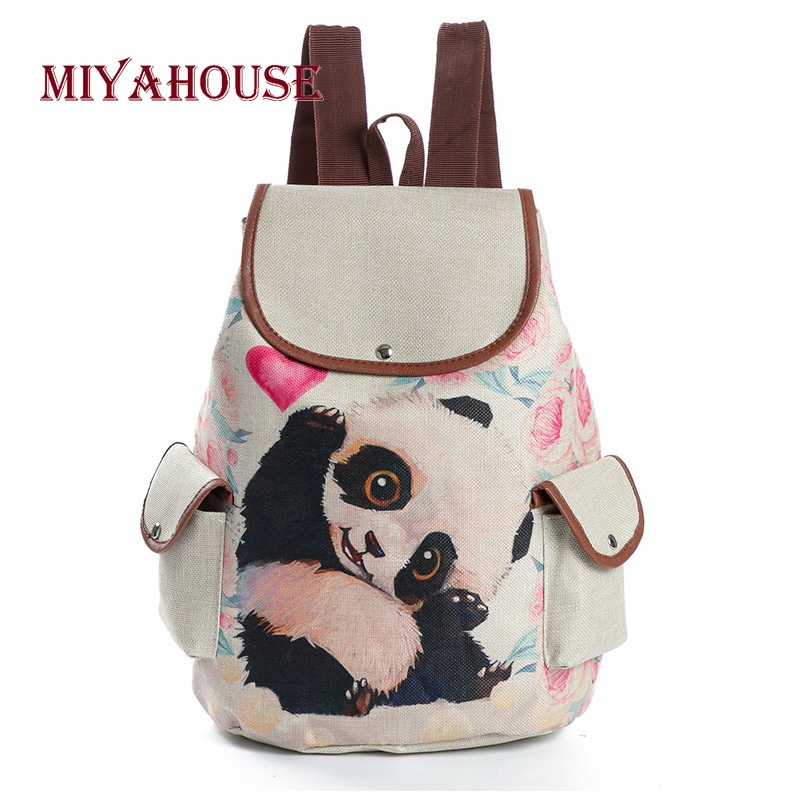 Miyahouse Cartoon Animal Design School Backpack For Teenage Girls Linen Material  Cute Panda Printed Drawstring Backpack Female