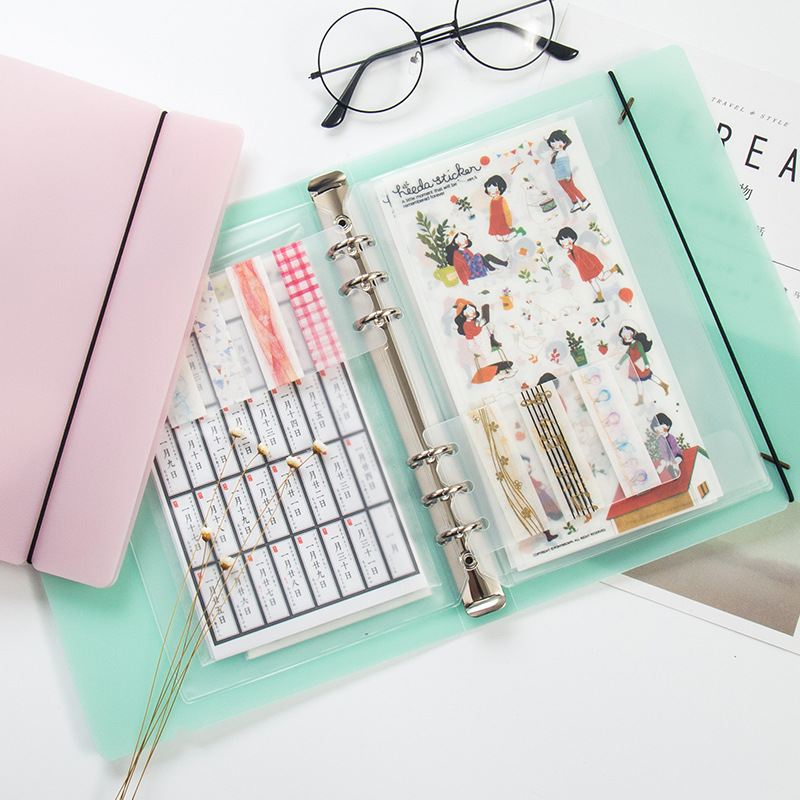 New A5 Pink/Green/Transparent PVC Notebook Accessory Sheet Shell Office School Stationery Concise 6 Holes Binder Planner Cover