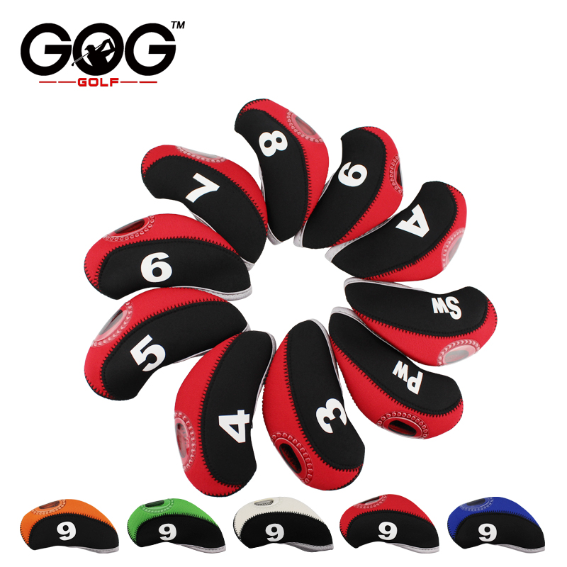 10Pcs Golf Iron Head Covers Neoprene Transparent Window Golf Club Iron Head Protector Golf Accessories