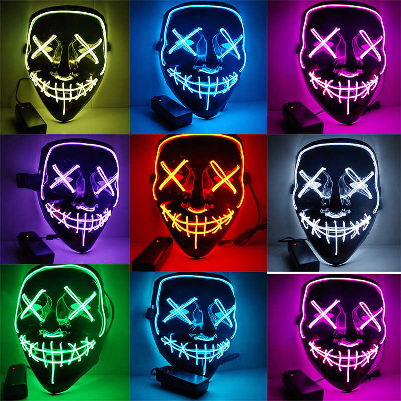 Halloween LED Light Up Mask Many Options Party Cosplay Masks The Purge Election Year Funny Masks Glow In Dark Or Horror