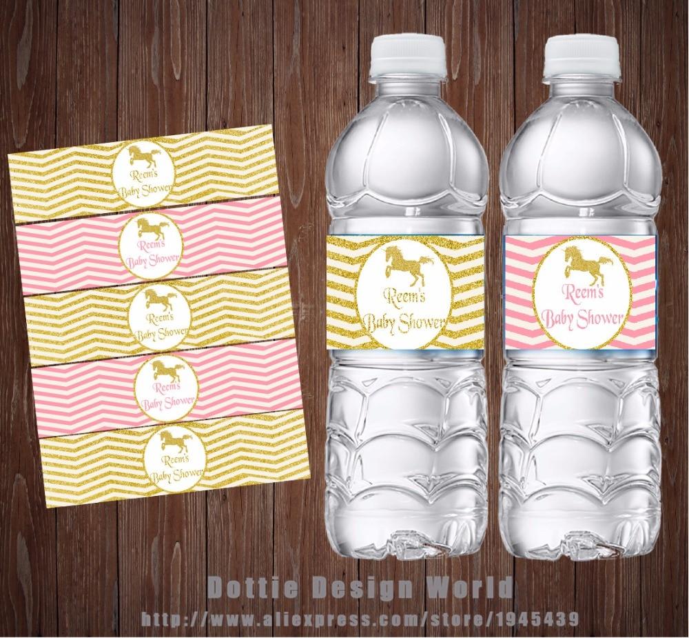 20 Pcs Lot Gold Glitter Unicorn Chevron Party Water Bottle