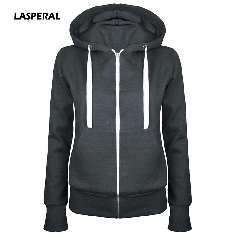 LASPERAL 2018 New Spring Autumn Hooded Sweatshirt Women Full Sleeve Solid Zipper Pocket Coat Outwear Casual Warm Sweatshirt Tops