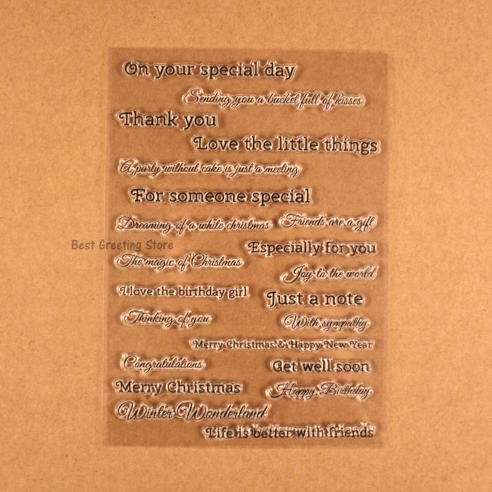 Clear Stamp Scrapbooking Transparent Greetings Stamps Quotes Card