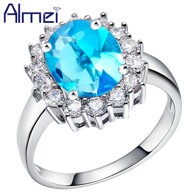 Almei 40% Off Flower Rings Fashion Jewelry Blue Stones Crystal Anel Silver Color Bague Ring for Woman Dropshipping USA J453