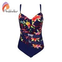 Andzhelika Bikini Plus Size Swimwear Women One Piece Swimsuit Sexy Mesh Floral Patchwork Bodysuit Summer Bathing