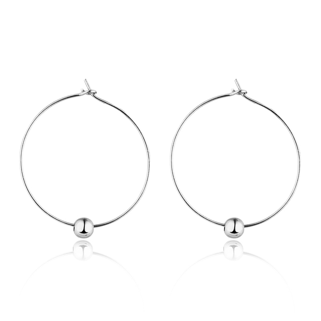 European Vintage Silver Gold Color Bead Endless Circle Earrings Handmade Simple Hoop Earring For Women
