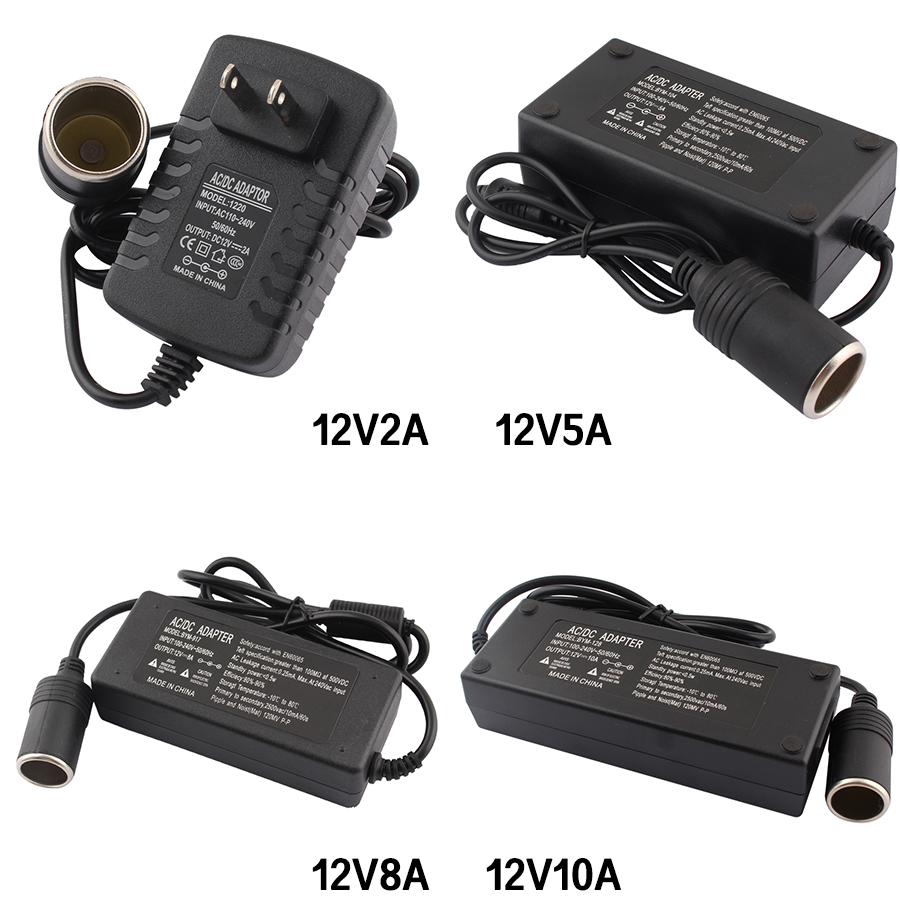 <font><b>AC</b></font> <font><b>Adapter</b></font> DC 110V 220V to <font><b>12V</b></font> 2A 5A 8A 10A Power <font><b>Adapter</b></font> Car Cigarette lighter Converter inverter 220V <font><b>12V</b></font> lighter With EU Plug image