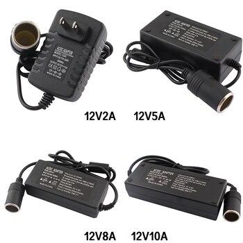 цена на AC Adapter DC 110V 220V to 12V 2A 5A 8A 10A Power Adapter Car Cigarette lighter Converter inverter 220V 12V lighter With EU Plug