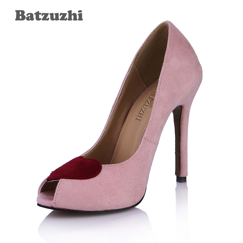 Batzuzhi 2018 New Peep Toe Women Shoes Classic Pink Leather Women Dress High Heel Shoes 12cm Heels with Heart Sharp at the Toe the new puma womens shoes classic high classic star high tongue series white leather laser badminton shoes
