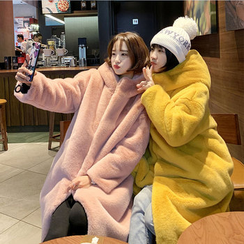 Winter Fur Jacket High-end Fashion Fur Coat Women Plush Fur Warm Jacket Female Imitation Mink Thick Long Hooded Large size Coat thicken fur faux fur coat female korean version of the fashion slim in the long hooded raccoon fur fur coat womens fur jacket