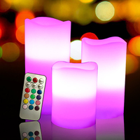flameless RGB remote led wax candle made by Paraffin wax 3 pcs/set,Home decoration,wedding candle light, lovely night light