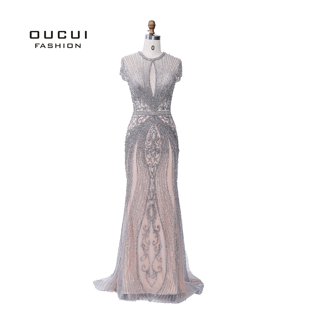 Image 3 - 2019 Luxury Diamond Sleeveless Nude Mermaid Long Sexy Evening Pageant Dresses Formal Gown Robe De Soiree Dubai Design OL103466-in Evening Dresses from Weddings & Events