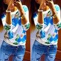 2017 Новый Осенний Цветок Топы Блузки для Беременных Женщин с Длинными рукавами Беременности Рубашка О-Образным Вырезом Вскользь Уменьшают Женская Одежда