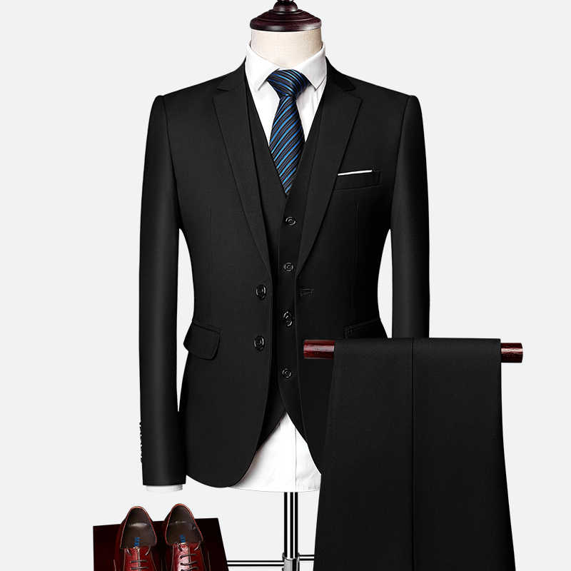 Пиджак + брюки + жилет/2019 новые мужские деловые тонкие костюмы, комплекты, свадебное платье, костюм из трех предметов, блейзеры, пальто, брюки, жилет