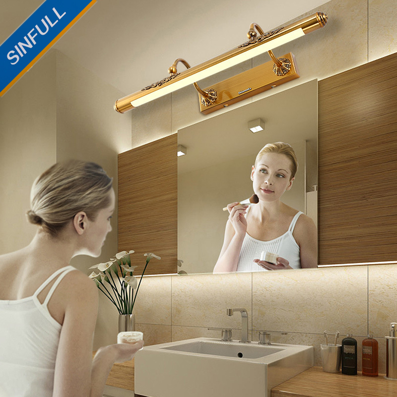 European Bathroom Lamp American Mirror Front Lights Bathroom Led Dress Room Mirror Cabinet Sconce Simple Makeup Retro Lighting