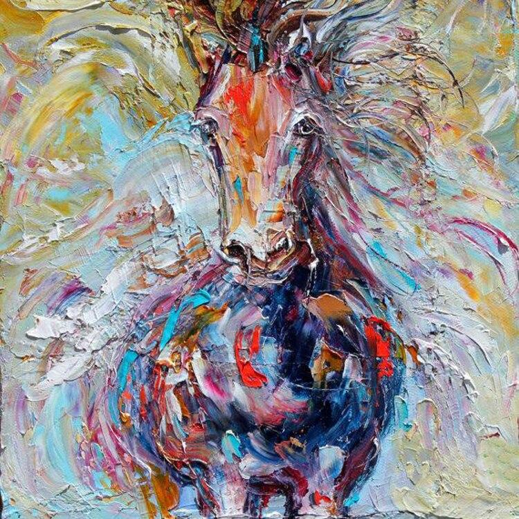 مهارات الرسام فريق مرسومة باليد عالية الجودة مجردة الحصان النفط الطلاء على قماش اليدوية الحصان اللوحة غرفة المعيشة-في الرسم والخط من المنزل والحديقة على  مجموعة 1