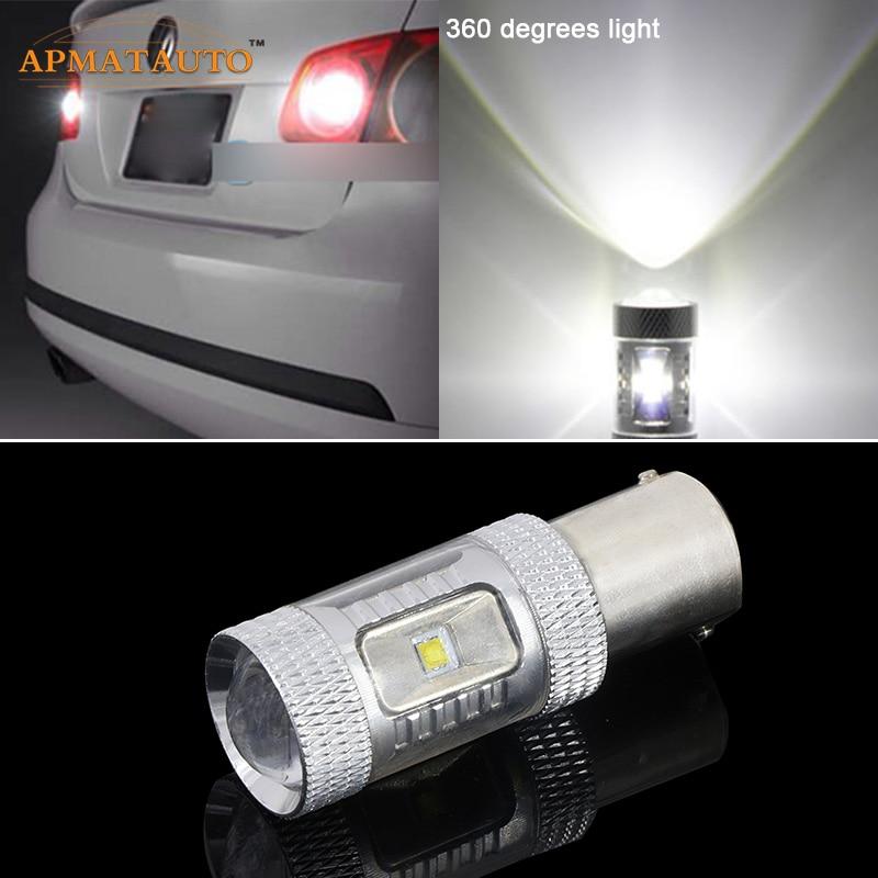 2 För Volkswagen VW Golf MK2 MK3 MK4 MK5 MK5 1156 P21W Canbus Error Free 12V XBD Chips LED-bil Omvänd lampa Bakljus Vit