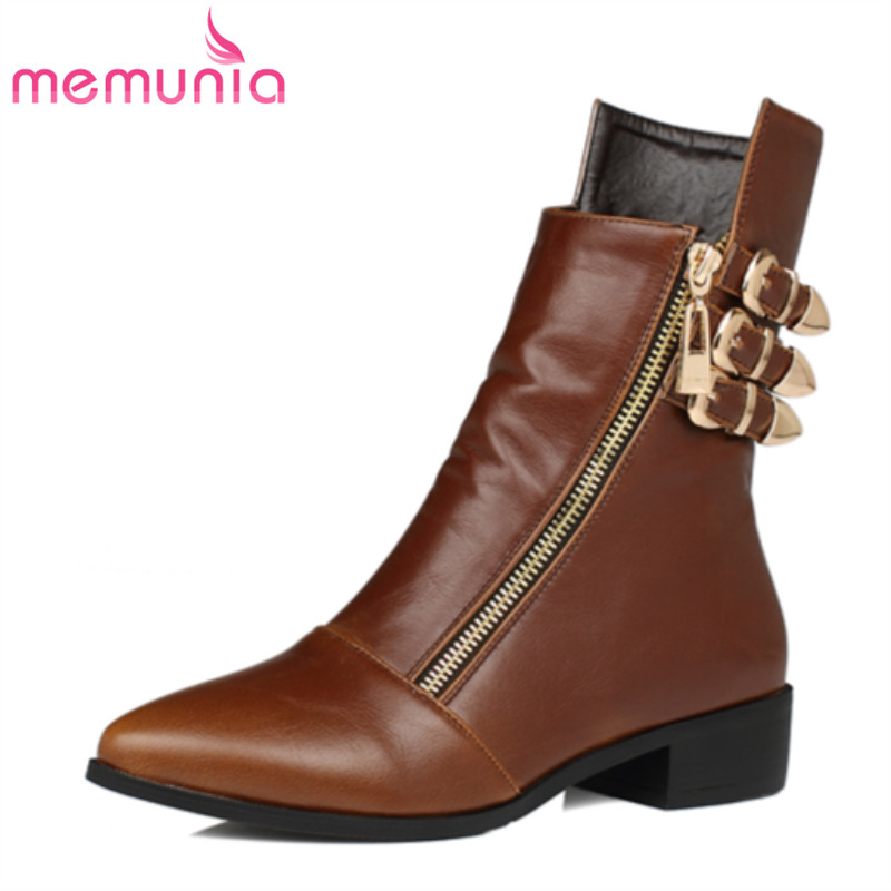 MEMUNIA fashion boots 2016 buckle pointed toe pu soft leather restoring punk autumn winter women ankle