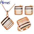 Almei 925 Sterling Silver Jewelry Sets Enamel Wedding Gold Plated Jewellery Set Women Joias Conjuntos Pendants Gifts 2016 T191