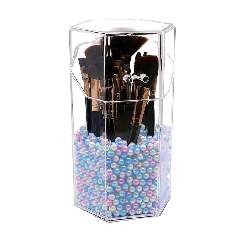 Makeup Brush Holder With Free Pearls Dustproof Cosmetic Brushes Organizer Storage, Hexagon Shaped/Protect Brushes/Large Size