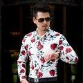 CE06 L-6XL 7XL Hombres Camisas de Manga Larga 2017 Rose Mens Floral Camisetas Blanco Hombres de la Camisa Hawaiana Camisa de Vestir Camisas Párr Hombre